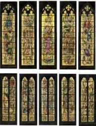 Ontwerptekeningen voor de Liduinaramen in de Frankelandse kerk. De vijf bovenste ramen verbeelden Liduina in de hemel, waarbij op het middelste raam Liduina te zien is. De           onderste vijf ramen verbeelden samen het lijden en de angst, onderaan op het middelste raam is de val op het ijs van Liduina zichtbaar. In 1953 zijn de ramen ontworpen en aangebracht, in           1969 bij de sloop van de Frankelandse kerk vernietigd. Uitgebreider beschrijving van de ramen is te vinden in de Nieuwe Schiedamse Courant van 17 juli 1953.