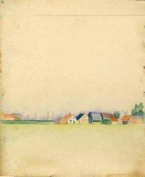 Gezicht op een gevelwand met links de contouren van kerkgebouwen (?), aquarelstudie uit 1924 van Johannes Gerardus van de Water (1913-2006)