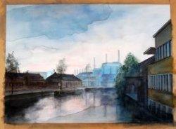 Gezicht vanaf de Koemarktbrug op de bebouwing aan de Buitenhavenweg met de Glasfabriek, met rechts het gebouw van de voormalige HAV-Bank.