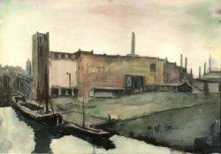 Gezicht op de moutwijn- en gistfabriek Hollandia II aan de Schie. Links van het fabrieksgebouw de toren van de Grote- of Sint Janskerk. Aquarel door G.P. (Peet) Wattez           (1913-1973).
