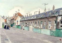 Gezicht op de Gedempte Baansloot in de richting van de Lange Kerkstraat. Aquarel naar beeldnummer 19050.
