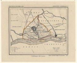 Kaart van het grondgebied van de gemeente Schiedam, temidden van de aangrenzende gebieden. Uit de