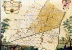 Plattegrond van de ambachtsheerlijkheid Kethel en Spaland. Links in de bovenhoek staat: 'kaart van de Ketel en Spaelant met zijn onder Hoorige Polders getrokken uijt de           groote kaart van Delflant A1769'. Daarboven het wapen van de heerlijkheid Kethel. Onder de tekst het wapen van de heerlijkheid Spaland. In de rechter bovenhoek het wapen van J. van Hersele,           heer van kethel en half Spaland van 1703-1773. Jacob van Hersele van de eerste eigenaar van het schilderij dat in 1769 werd geschilderd.