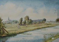 Gezicht op de Polderwatering met links de Sint Jacobuskerk en enkele huizen aan de Kerkweg. Aquarel door Nico van Welzenes.