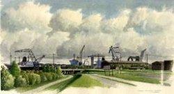 Gezicht op de werf van Wilton Fijenoord vanaf de Vlaardingerdijk. Aquarel door Nico van Welzenes (geboren 1936).