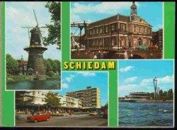 Vier stadsgezichten op 1 kaart. Linksboven molen de Walvisch. Rechtsboven de Korenbeurs met de Korte Havenbrug. Linksonder de Mgr. Nolenslaan en rechtsonder Restaurant           Europoort.