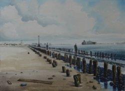 Zonder titel. Aquarel door Nico van Welzenes (geboren 1936), afkomstig uit de collectie van het Centrum voor Beeldende Kunst te Schiedam. Afmetingen 73 x 93           cm.