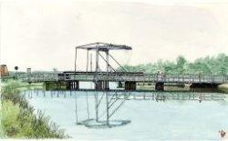 De Blauwe Brug in de Schiedamseweg over de Poldervaart. Aquarel naar beeldnummer 19477.