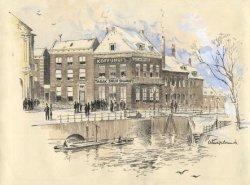 Dam hoek Lange Haven. Uiterst links de Korenbeurs en in het midden het pand Dam 2, waarin vroeger het koffiehuis was. Tekening, pen en inkt, penseel en waterverf, getekend           naar de situatie omstreeks 1900.