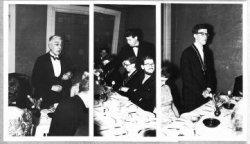 Op 24 september van het Bondsjaar 1958-1959 had het bestuur van de SGB een diner in Restaurant Engels te Rotterdam. Rector P. Herfst (links) en praeses Wim Jurgens (rechts)           hielden een toespraak.