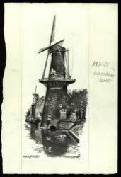 Gezicht op molen De Walvisch aan de Westvest met links in de verte molen De Drie Koornbloemen. Monochrome aquarel van de hand van Maarten Kemper.