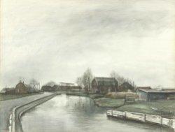 Gezicht op de Polderweg met rechts de in 1997 gesloopte boerderij met ophaalbrug aan de Polderweg 17 en links de zijkant van de in 1918 gebouwde huizen van de           'Woningbouwvereeniging voor Kethel c.a.', bekend als 'De Negen Plagen'. Pentekening/aquarel van Charles Jean Kemper (1913-1985).
