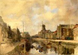 Gezicht op de Korte Haven met de molen De Drie Koornbloemen en rechts de panden van Kappelhof en Hoving