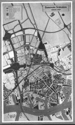 De uitbreidingsplannen van de gemeente Schiedam, ten noorden van de 'oude' stad, naar een maquette omstreeks 1964.