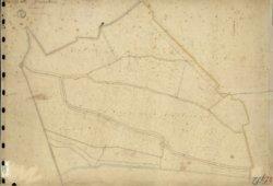 Eerste blad van sectie E van de oudste kadastrale kaart van Schiedam voor zover aanwezig in het Gemeentearchief Schiedam.