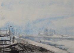 Gezicht mogelijk op de Schie richting Delft. Aquarel door Leo de Kruis (1939-2017), afkomstig uit de collectie van het Centrum voor Beeldende Kunst te Schiedam. Afmetingen           75 x 85 cm.