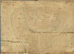 De secties A, B en C van de oudste kadastrale kaart van Schiedam voor zover aanwezig in het Gemeentearchief Schiedam.