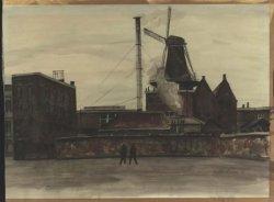 Gezicht op molen De Vrijheid vanaf een fabrieksterrein gelegen tussen de Noordmolenstraat en de Noordvest. Aquarel van de hand van Maarten Kemper.