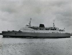 De 'Free Enterprise III' na de officiële overdracht onderweg via de 'Nieuwe Waterweg' onderweg naar Dover op 21 juli 1966. De dag erop (22 juli 1966) zou zij haar           'maidentrip' maken met de eerste oversteek van Dover naar Calais onder de Britse vlag. CO. nr. 538