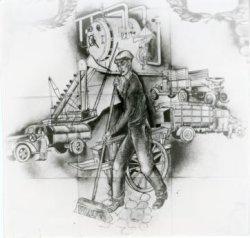 Een gedeelte van het tegeltableau ter ere van het vijftigjarig jubileum in 1948 van de Reinigingsdienst. Het tegeltableau is vervaardigd door het atelier           Pieterman.