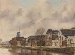 Gezicht op de noordzijde van de Korte Haven met links molen De Drie Koornbloemen. Aquarel door Nico van Welzenes.