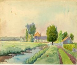 Gezicht op een boerderij te Kethel met recht vooraan een landweg en links daarvan een sloot naast een weiland. Vervaardigd in 1936 of 1937; beide jaartallen komen op de           aquarel voor.