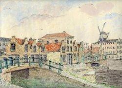 Groenweegje gezien vanaf de Sint Anna Zusterstraat. De molen is de Palmboom.