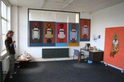 kunstschilder Mathijs Gootjes in zijn atelier aan de Nieuwe Haven tijdens Open Ateliers 2007