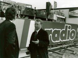 De dag na de brand bij Radio Modern op de Nieuwpoortweg.