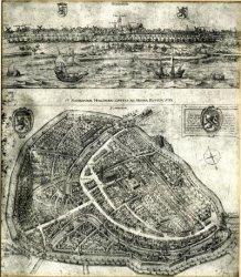 Digitale reproduktie van een afdruk uit 1953 van de etsplaat van de kaart van De Gheyn uit 1598.