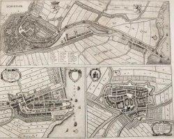 Kaart van Schiedam naar de kaart van 1649 van Joan Blaeu, uit de tweede uitgave van de stedenatlas van Frederick de Wit van circa 1698. Schiedam is op één blad gedrukt met           Delfshaven en Oudewater. Rechtsonder het opschrift