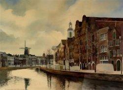 Gezicht op de Lange Haven, met links de molen De Walvisch, rechts daarvan de toren van de kerk van de Nederlandse Protestantenbond en rechts de Sint Jans- of Havenkerk.           Aquarel door Nico van Welzenes.