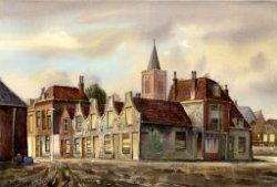 """Tekening, penseel in kleur, 33,5 x 50,5 cm Vijf panden met halsgevels, ook wel bekend als de """"vijf wezen"""", staande aan de Laan. Daarachter de toren van de Grote- of Sint           Janskerk aan het Oude Kerkhof N.B.: Zie ook beeldnummer 05029"""