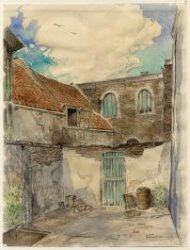De binnenplaats aan de Prinsensteeg van het atelier van de glazeniers Henderickx aan de Oude Sluis.