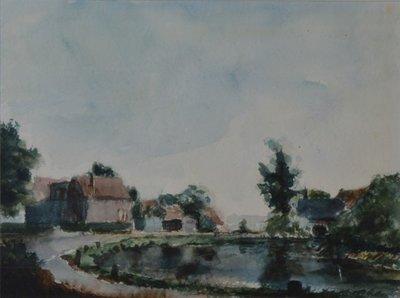 Gezicht op mogelijk het buurschap Het Windas met de Kethelvaart. Aquarel door Leo de Kruis (geboren 1939), afkomstig uit de collectie van het Centrum voor Beeldende Kunst te           Schiedam. Afmetingen 47,5 x 62,3 cm.