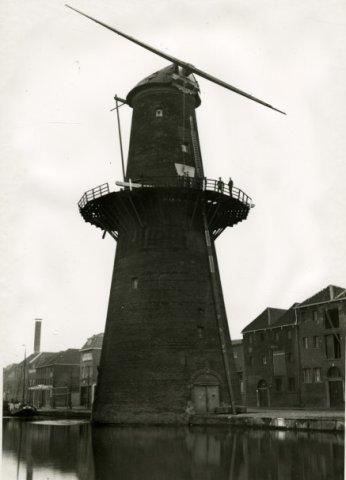 Het insteken van een nieuwe roe bij molen de vrijheid aan de Noordvest.