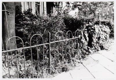 FA: Overzicht hekken-hagen-bestrating op de Lagedijk en zijstraten te Zaandijk 1975