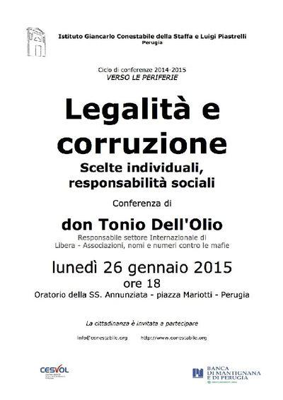 Legalità e corruzione Scelte individuali, responsabilità sociali