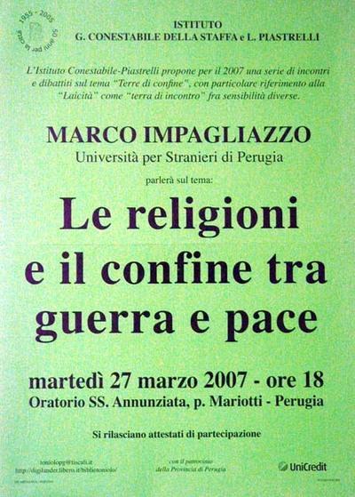 Le religioni e il confine tra  guerra e pace