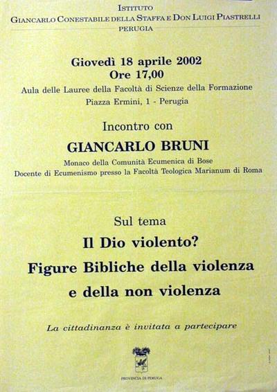 Il Dio violento? Figure bibliche della violenza e della nonviolenza