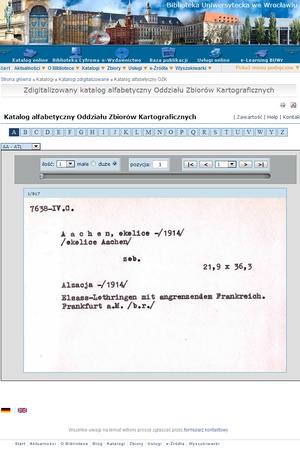 Zdigitalizowany katalog alfabetyczny Oddziału Zbiorów Kartograficznych