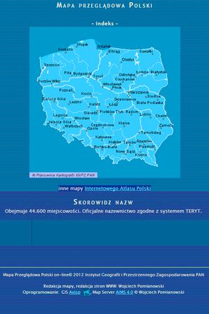Mapa przeglądowa Polski i skorowidz nazw