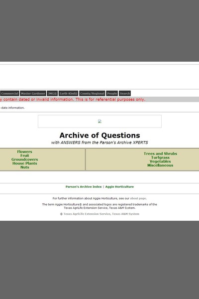 Archive of Questions - Aggie Horticulture