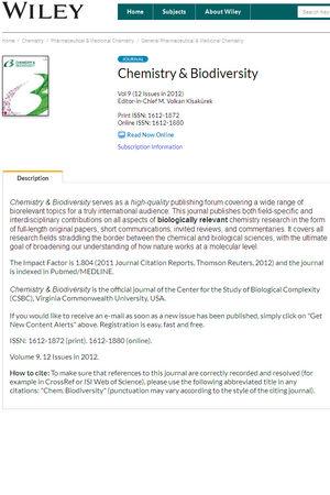 Chemistry & Biodiversity