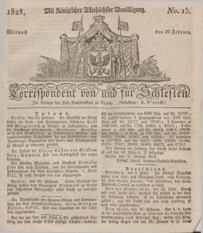 Correspondent von und fuer Schlesien. 1828, No. 15 (20 Februar) + dod.