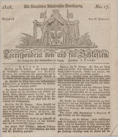 Correspondent von und fuer Schlesien. 1828, No. 17 (27 Februar) + dod.