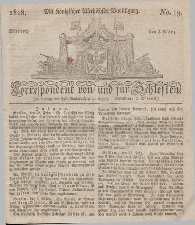 Correspondent von und fuer Schlesien. 1828, No. 19 (5 März) + dod.