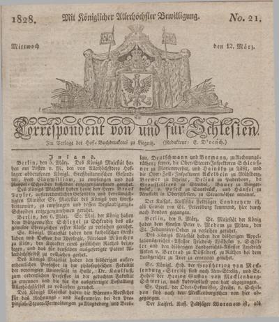 Correspondent von und fuer Schlesien. 1828, No. 21 (12 März) + dod.