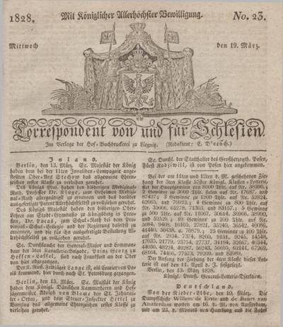 Correspondent von und fuer Schlesien. 1828, No. 23 (19 März) + dod.