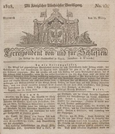 Correspondent von und fuer Schlesien. 1828, No. 25 (26 März) + dod.